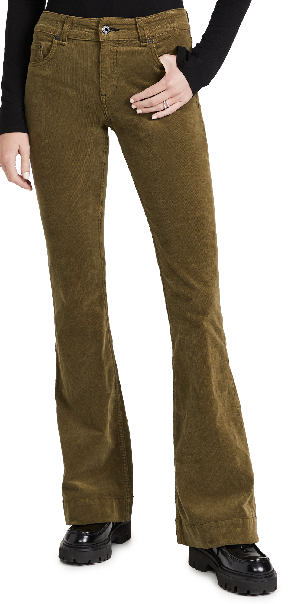 Mid Rise Flare Pants