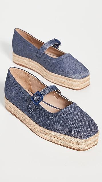Aster 方头麻编帆布鞋
