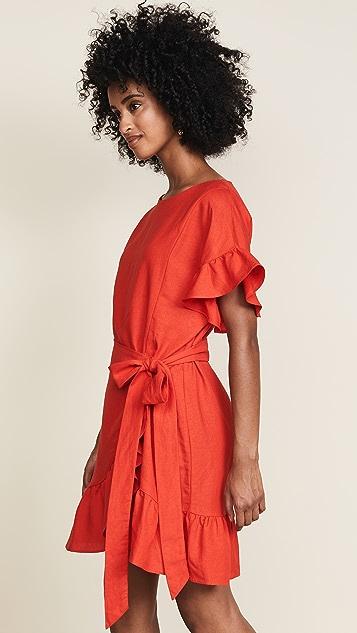 ASTR the Label Льняное платье-халат с оборками