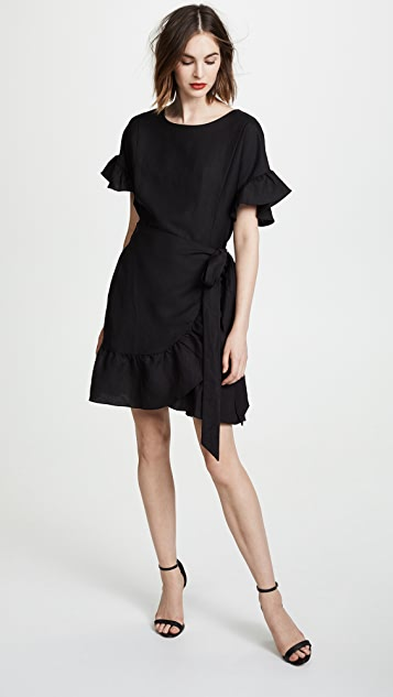 ASTR the Label Linen Ruffle Wrap Dress