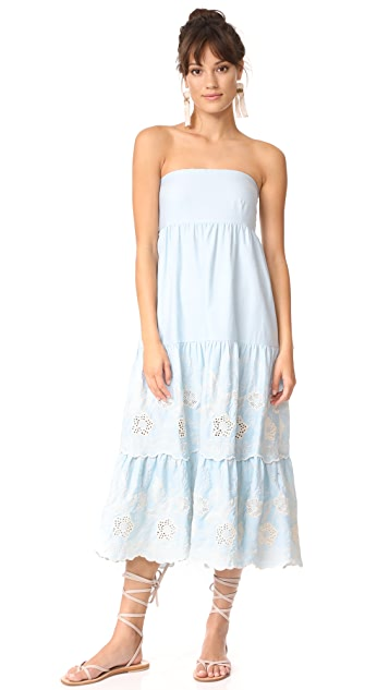 Athena Procopiou Gypset Blue Strapless Dress with Bow