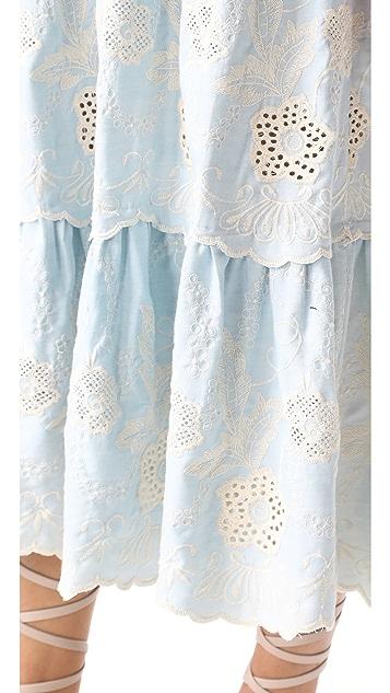 Athena Procopiou Gypset Blue Strapless Dress with Bow