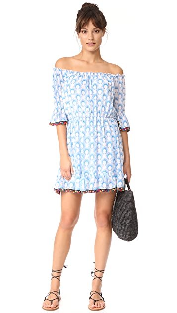 Athena Procopiou Cotton Breeze Short Dress with Pompoms