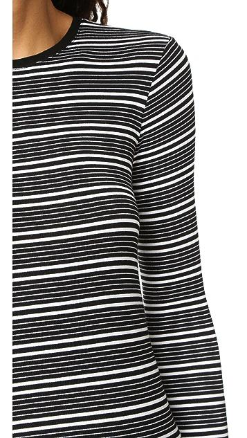 ATM Anthony Thomas Melillo Engineered Stripe Long Sleeve Crew Neck Top