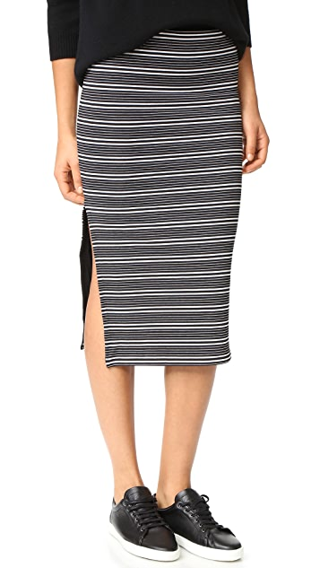 ATM Anthony Thomas Melillo Engineered Striped Rib Skirt