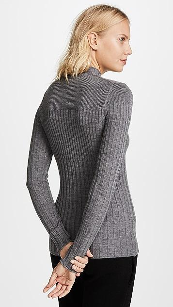 ATM Anthony Thomas Melillo Varigated Rib Turtleneck Sweater