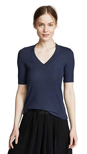 ATM Anthony Thomas Melillo Modal Rib V Neck Top