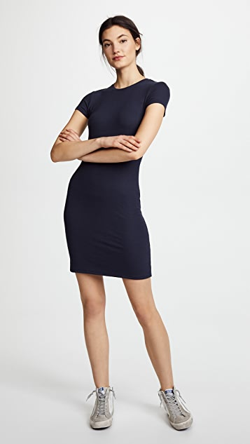ATM Anthony Thomas Melillo Rib Mini Cap Sleeve Crew Neck Dress