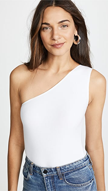 ATM Anthony Thomas Melillo Ribbed One Shoulder Bodysuit