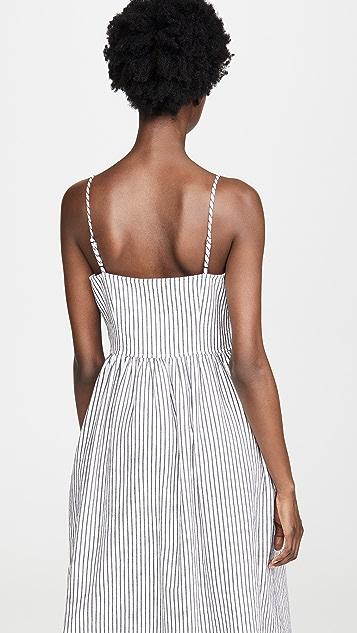 ATM Anthony Thomas Melillo Платье без рукавов на пуговицах спереди из льняного хлопка в полоску