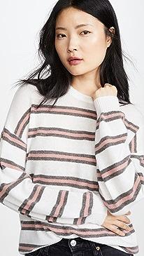 Stripe Crew Neck Cashmere Sweater