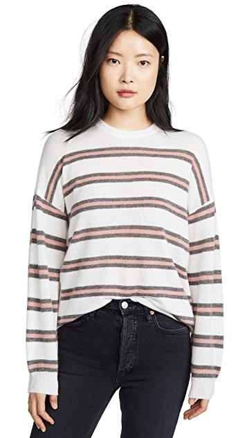 ATM Anthony Thomas Melillo Stripe Crew Neck Cashmere Sweater