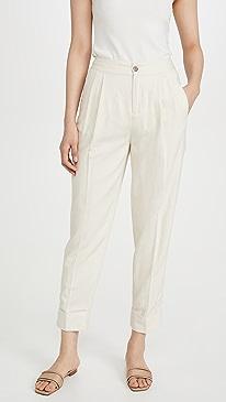 Linen Blend Tailored Pants