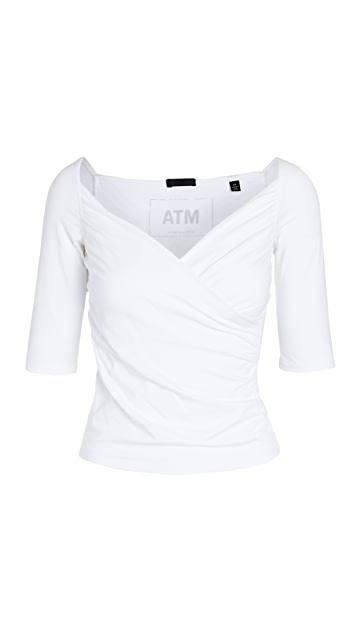 ATM Anthony Thomas Melillo 交叠中袖吊带上衣