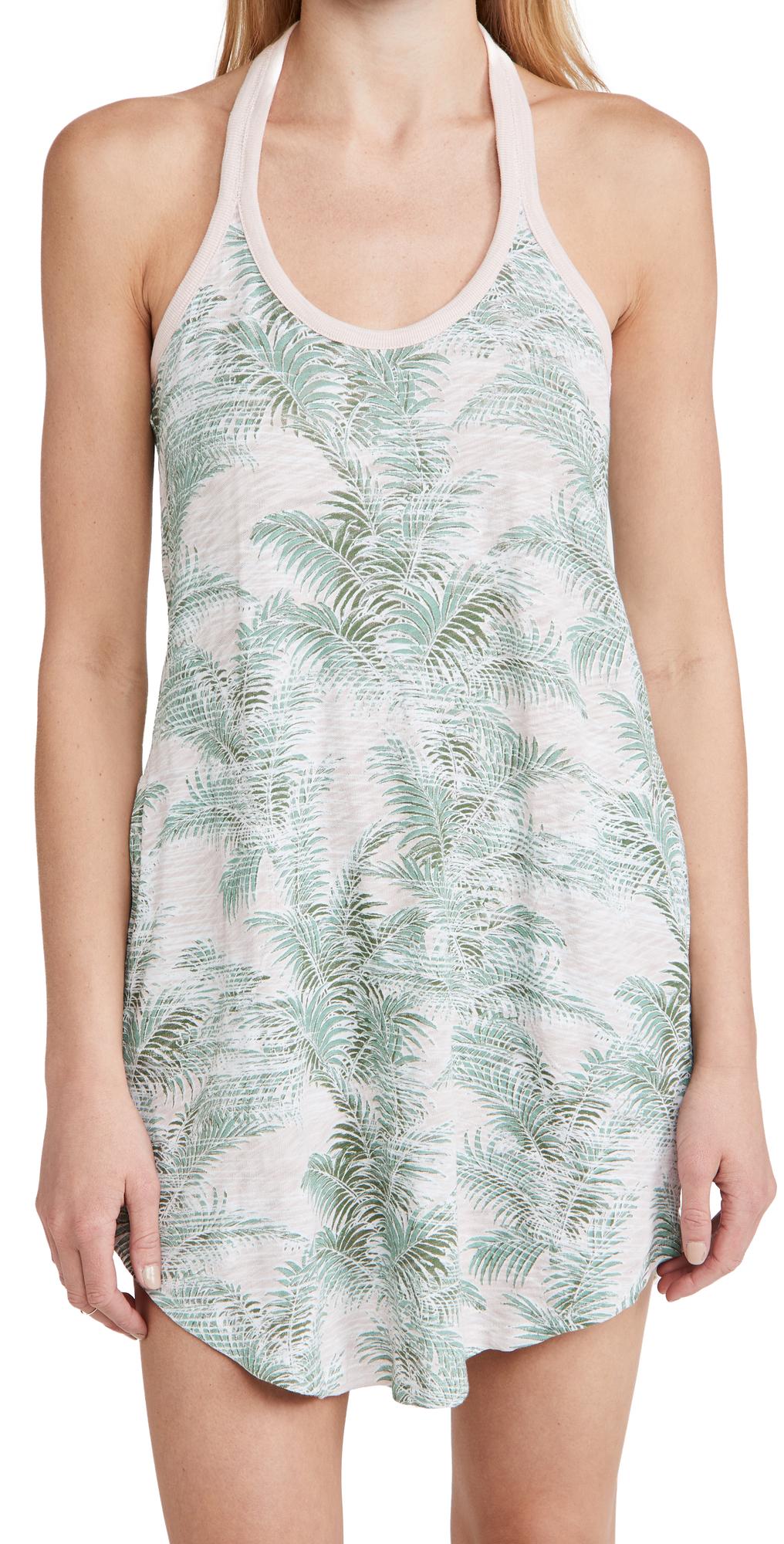 Atm Anthony Thomas Melillo Palm Print Cotton Jersey Tank Dress