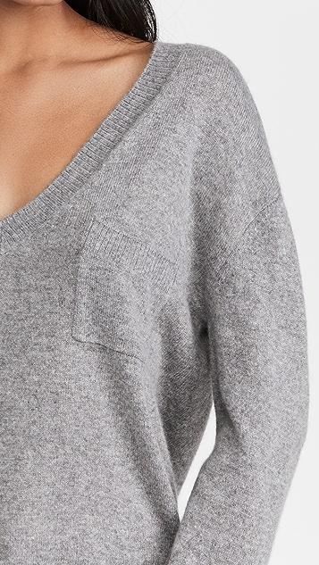 ATM Anthony Thomas Melillo 口袋设计羊绒深 V 领毛衣