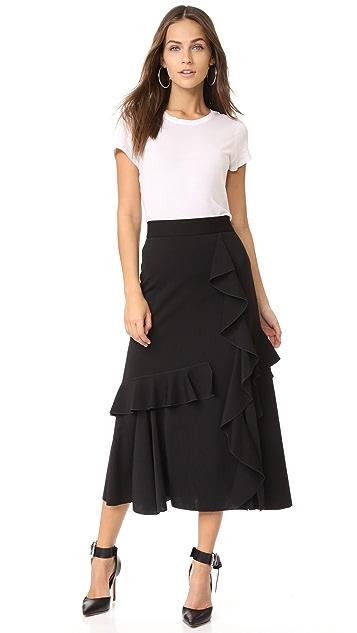 Amelia Toro Ruffle Wrap Midi Skirt