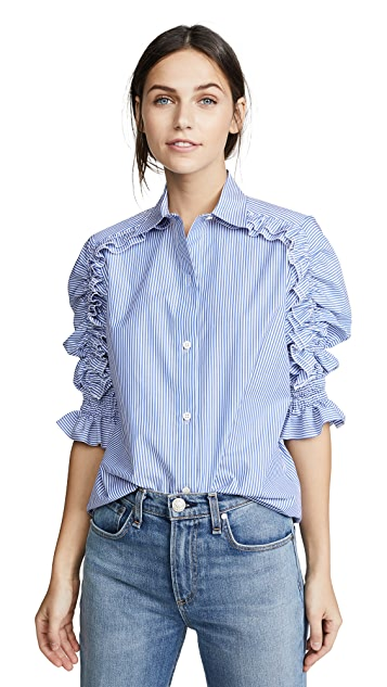 Amelia Toro Ruffle Sleeve Blouse