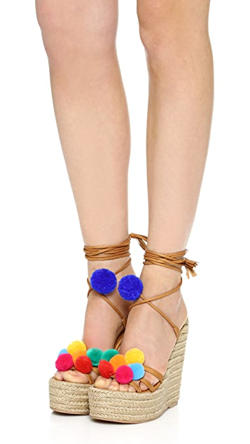 Alameda Turquesa Holi Pom Pom Wrap Sandals