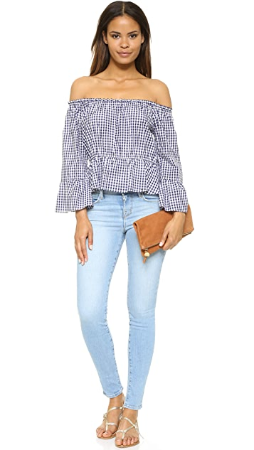 Amanda Uprichard Off Shoulder Flare Sleeve Top