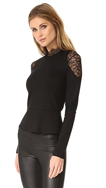 Amanda Uprichard Lace Mock Neck Top
