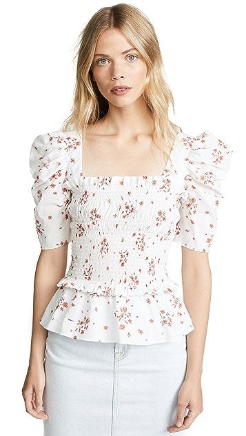 Amanda Uprichard Puff Sleeve Top