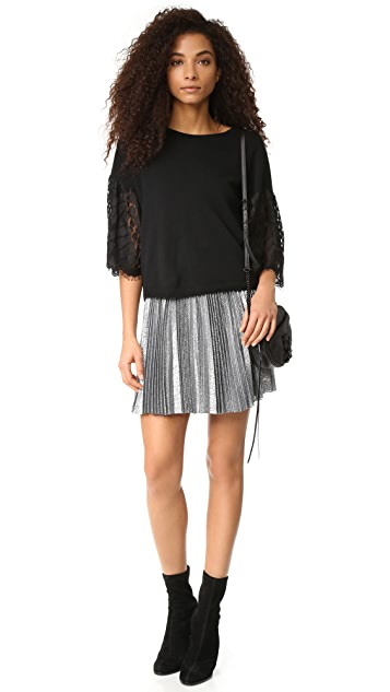 Autumn Cashmere Cropped Sweater with Lace Sleeves
