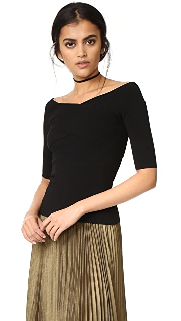 Autumn Cashmere Crisscross Off Shoulder Sweater
