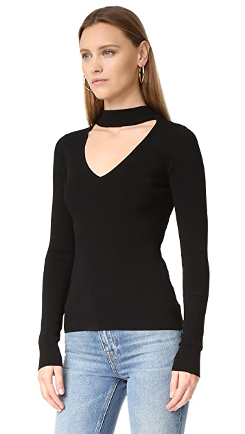 Autumn Cashmere Mock Neck V Sweater