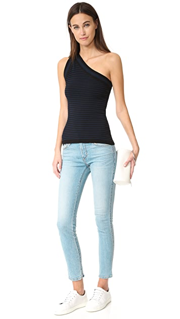 bbb38bc5ab088 ... Autumn Cashmere Striped One Shoulder Tank ...