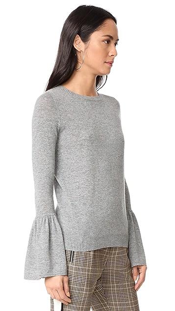 Autumn Cashmere Cashmere Sweater with Ruffle Cuffs