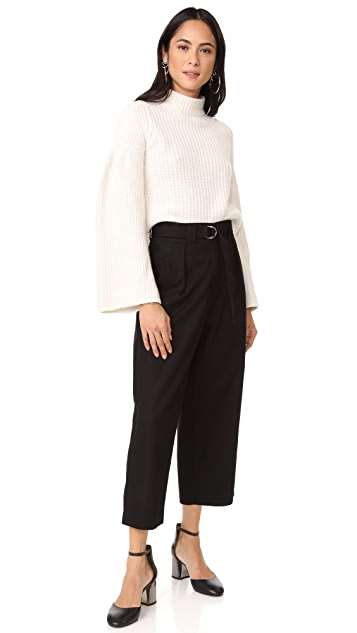 Autumn Cashmere Cropped Sweater with Trumpet Sleeves