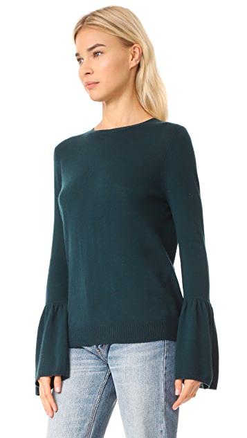 Autumn Cashmere Cashmere Sweater with Ruffle Cuffs