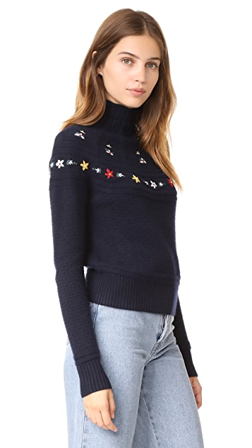 Autumn Cashmere Embroidered Mock Neck Sweater