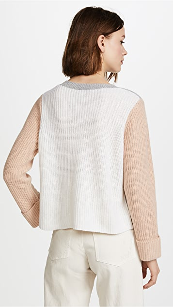 Autumn Cashmere Cuffed Colorblock Cashmere Sweater