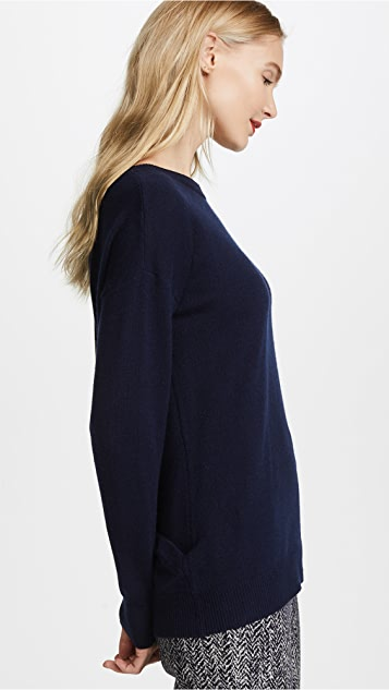 Autumn Cashmere Crossover Back with Velvet Tie Cashmere Sweater
