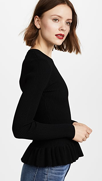 Autumn Cashmere Ribbed Peplum Sweater