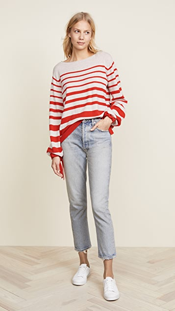 Autumn Cashmere Ombre Stripe Balloon Sleeve Sweater