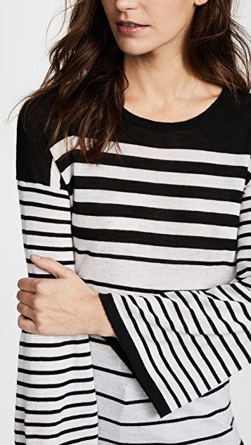 Autumn Cashmere Ombre Stripe Sweater with Lantern Sleeves
