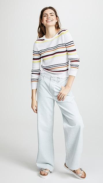 Autumn Cashmere Multi Stripe Textured Crewneck