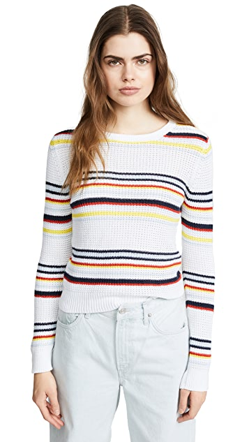 Autumn Cashmere Multi Stripe Textured Crewneck