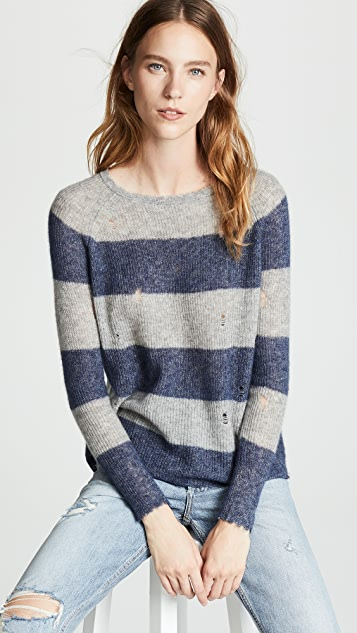 aba74f6b57 Autumn Cashmere Distressed Rugby Stripe Shaker Sweater