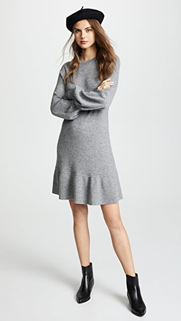 Autumn Cashmere 灯笼袖开司米羊绒荷叶边连衣裙