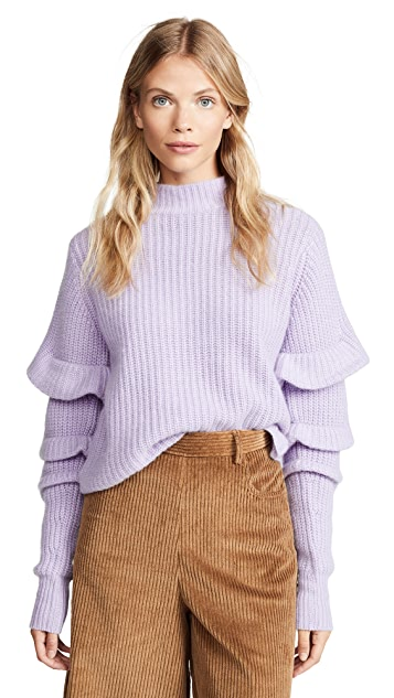 Autumn Cashmere Crop Mock Neck with Pleat Sleeves