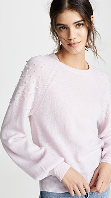 Autumn Cashmere Cashmere Sweater with Imitation Pearls