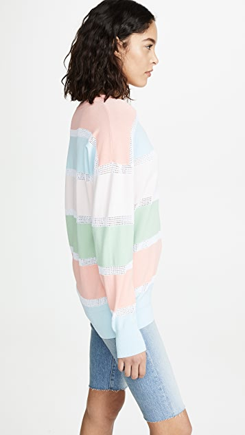 Autumn Cashmere Relaxed Stripe Mesh Sweater