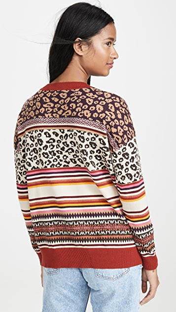 Autumn Cashmere Leopard Fairisle Crew Sweater