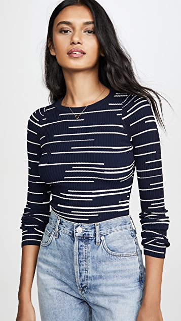 Autumn Cashmere Broken Stripe Crew Sweater