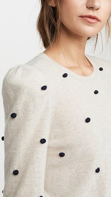 Autumn Cashmere Кашемировый свитер с округлым вырезом, объемными рукавами и помпонами