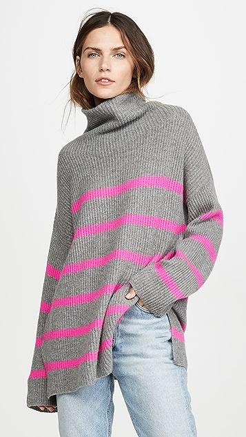 Autumn Cashmere Breton Stripe Funnel Neck Cashmere Sweater